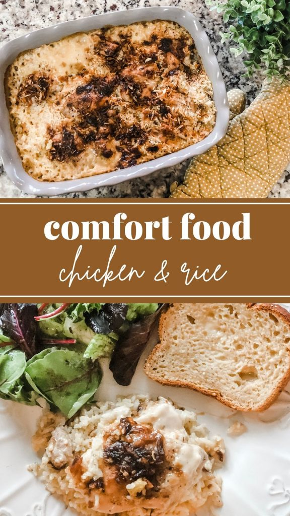 Comfort food chicken and rice pinterest image with plated food and casserole