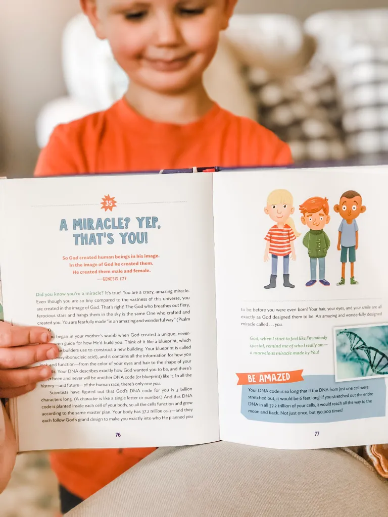 Text and Illutrations of family devotional held my small child
