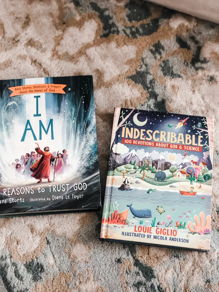 Fun Devotional with I Am book and Indescribable Book in flatlay