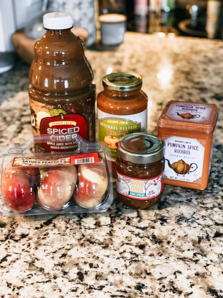 fall favorites from trader joes lined on counter