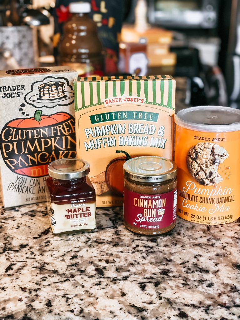 trader joes gluten free baking mixes on counter with fall spreads