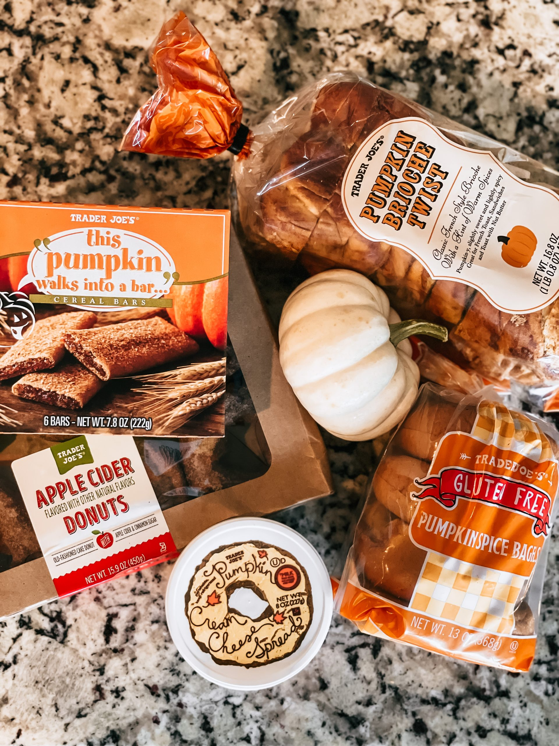 fall favorite breakfast items from trader joes on counter
