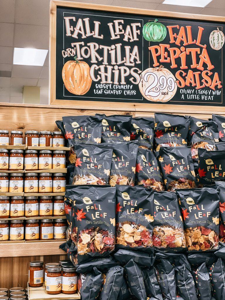 Fall display of chips and pepita salsa at trader joe's