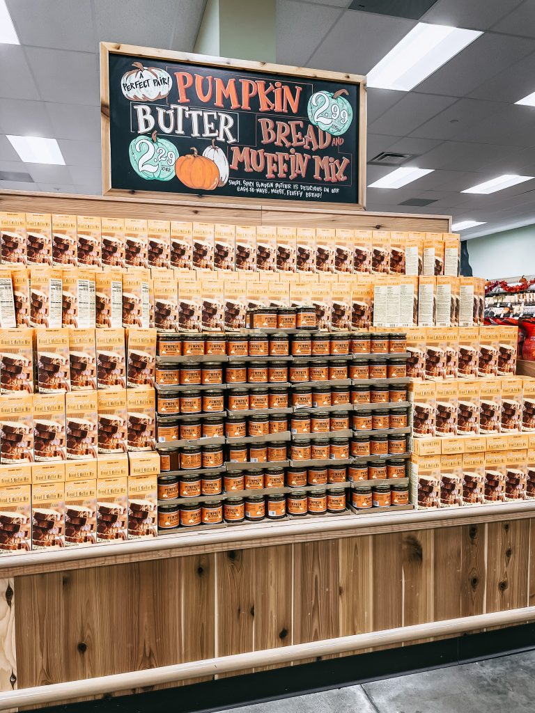 Fall Favorites display at trader joe's with pumpkin butter and bread mix