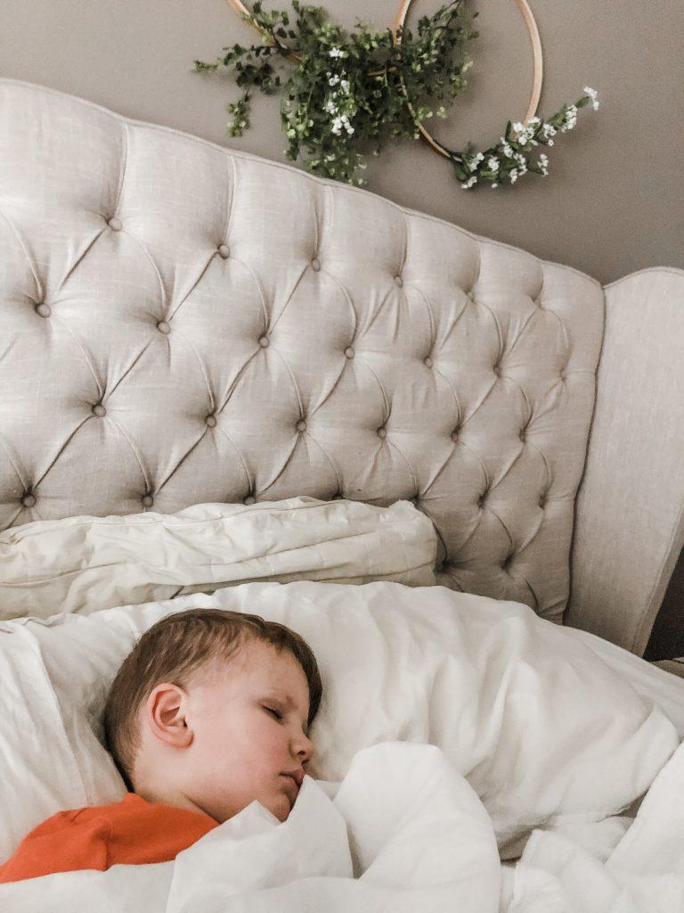 little boy sleeping for health