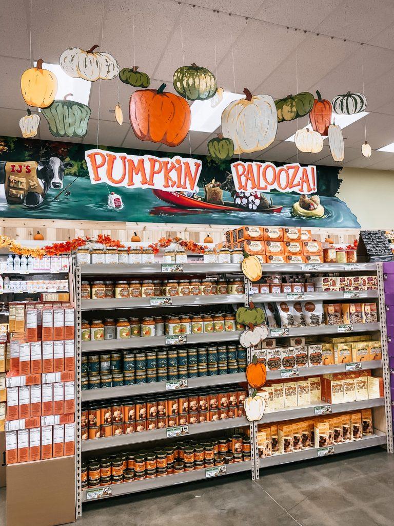 Pumpkin palooza display of fall items at trader joe's